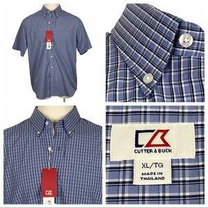 NWT Cutter & Buck Plaid Short Sleeve Shirt XL